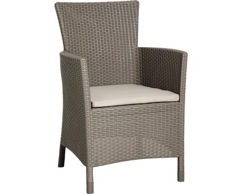 Fauteuil lounge dining Best Napoli cappuccino sable, avec galette de chaise