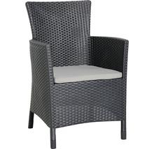 Fauteuil lounge dining Best Napoli graphite gris clair, avec galette de chaise-thumb-0