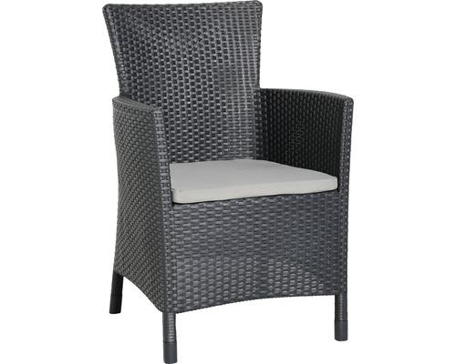 Fauteuil lounge dining Best Napoli graphite gris clair, avec galette de chaise-0