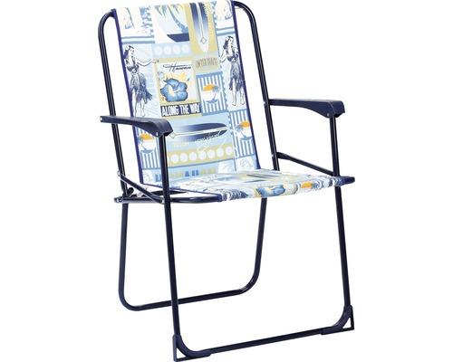 Chaise de camping pliante Best Chiemsee bleu-blanc