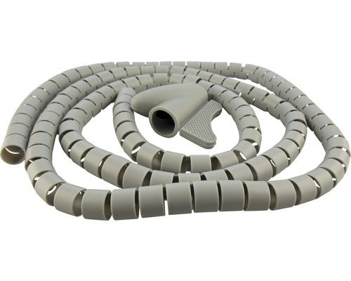 Gaine range-câble en spirale 1,5 m Ø 28 mm Schwaiger gris