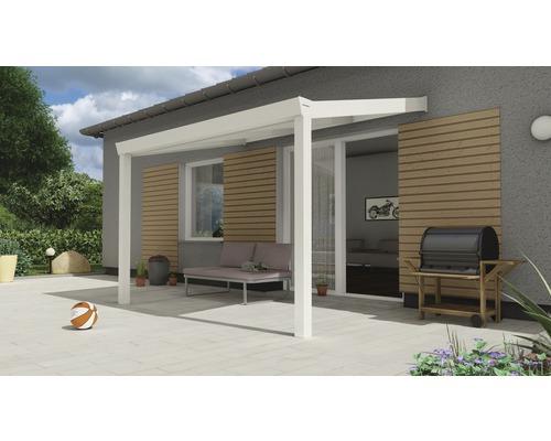 Toiture pour terrasse Expert avec polycarbonate opale 300x250 cm blanc