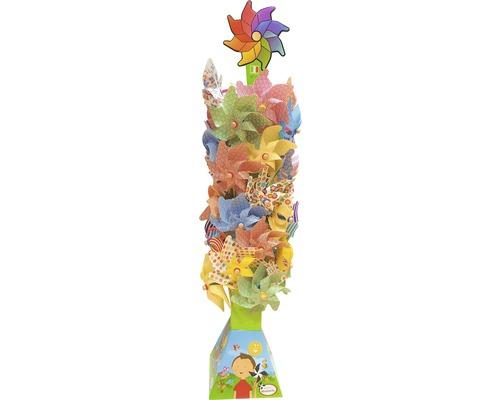 Éolienne avec tige en bois Ø32 H76cm, choix de couleurs aléatoire