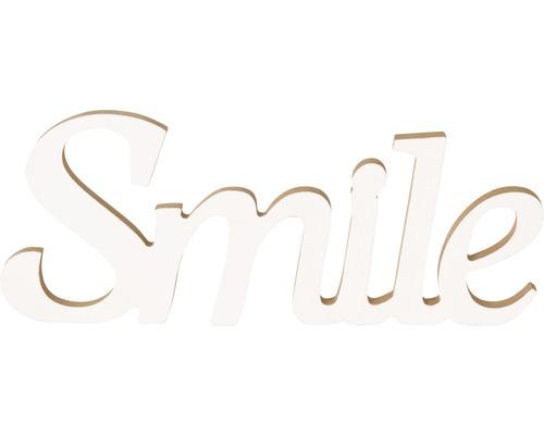 Inscription Smile blanc 25x10 cm