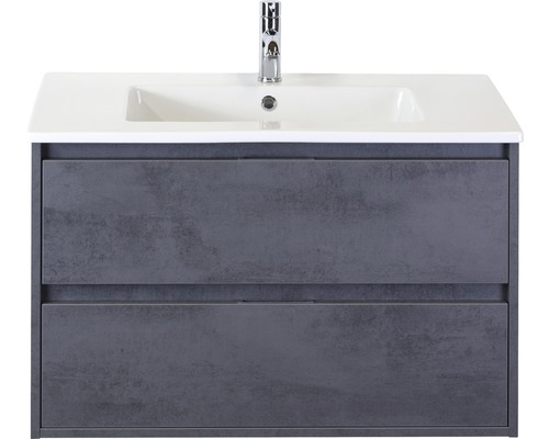 Ensemble de meubles de salle de bains Porto 90cm avec vasque en céramique béton anthracite