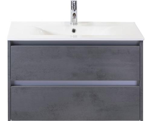 Ensemble de meubles de salle de bains Dante 80cm avec vasque en céramique béton anthracite