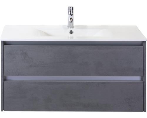 Ensemble de meubles de salle de bains Dante 100cm avec vasque en céramique béton anthracite