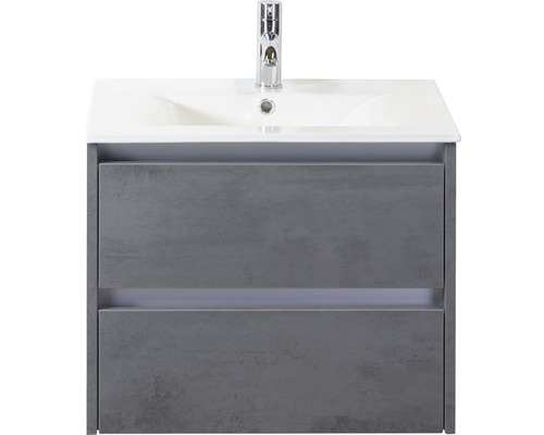 Ensemble de meubles de salle de bains Dante 60cm avec vasque en céramique béton anthracite