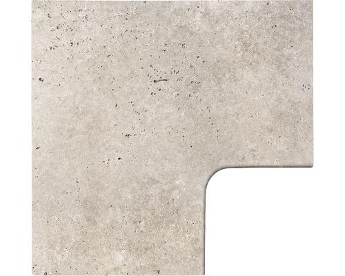 Bordure de piscine margelle Flairstone Roma pièce d''angle 90° gris intérieur arrondi 60x37 / 60x37 cm