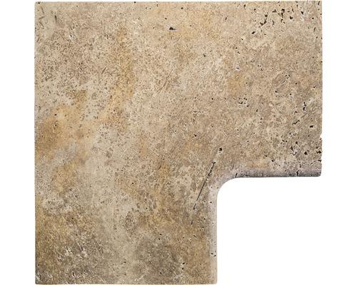 Bordure de piscine margelle Flairstone Livorno pièce d''angle 90° marron intérieur arrondi 60x37 / 60x37