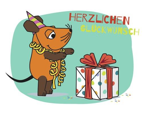 Mini carte de vœux Herzlichen Glückwunsch 5,5x7,7 cm