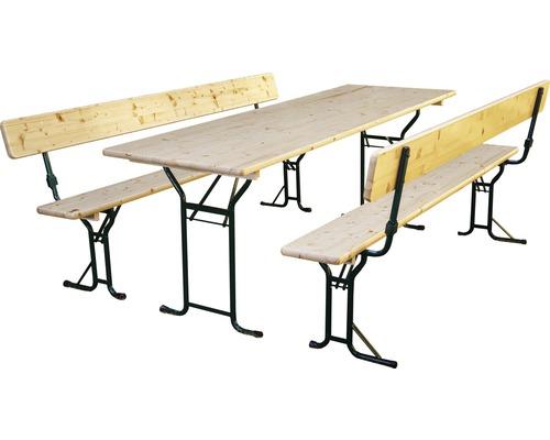 Ensemble table et bancs avec dossier dimensions de la table 220 x 70 cm épicéa nature, vernis