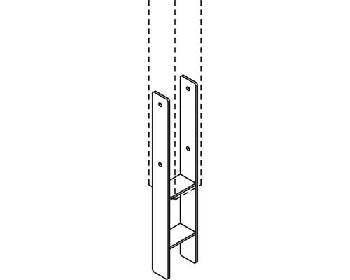 Ancrage en H pour poteaux 6x15,5x85cm pour Osmo Forsdal