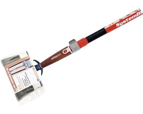 Kit pour vernissage du bois HORNBACH pinceau plat coudé avec barre télescopique