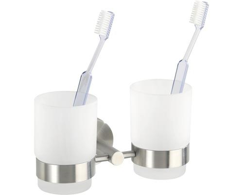 Gobelet pour brosses à dents Duo Bosio acier inoxydable mat
