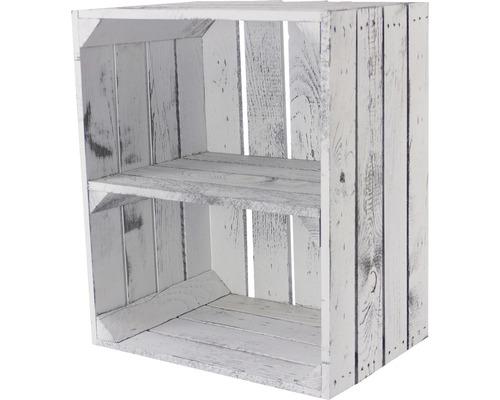 Caisse pour étagère vintage avec 1 tablette gris look usé 50x30x40 cm