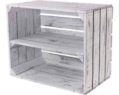Caisse pour étagère vintage blanc look usé avec 1 tablette 50x30x40 cm