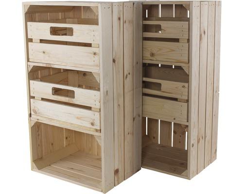 Caisse pour étagère vintage avec 4 tiroirs nature 68x30x40 cm