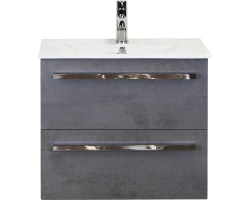 Ensemble de meubles de salle de bains Dante 60cm avec vasque en céramique modèle 1 béton anthracite
