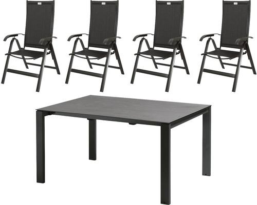 Set de meubles de jardin Acamp Acatop 4 places 5 pièces anthracite