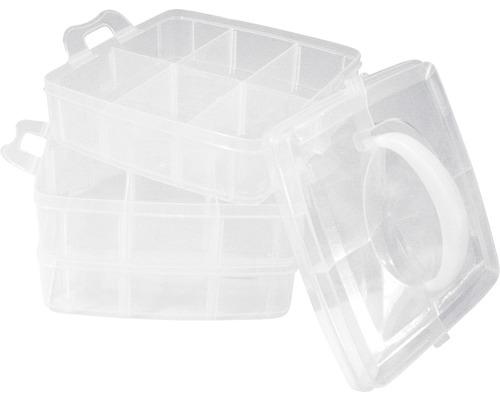 Boîte de rangement avec poignée de transport, 3x6 compartiments