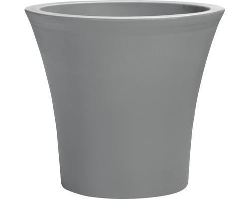 Pot de fleurs City plastique Ø 40cm H 38cm avec système d''arrosage et roulettes, gris