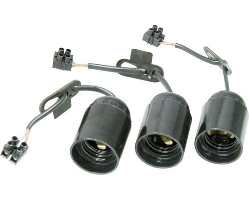 3x culots de rénovation E27 jusqu'à max. 75 watts câble H03VV-F 2x0,75mm²
