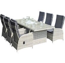 Gartenmöbelset Garden Place Dining 6-Sitzer 7 tlg. inkl. Tisch 200 x 100 x 76 cm mit 5mm Glasplatte, 6 Sesseln davon 2 verstellbar und Sitzkissen Polyrattan braun anthrazit-thumb-0