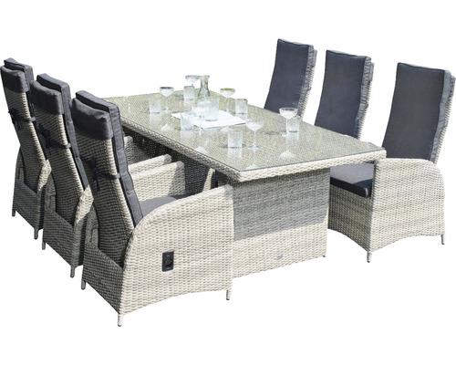 Gartenmöbelset Garden Place Dining 6-Sitzer 7 tlg. inkl. Tisch 200 x 100 x 76 cm mit 5mm Glasplatte, 6 Sesseln davon 2 verstellbar und Sitzkissen Polyrattan braun anthrazit-0