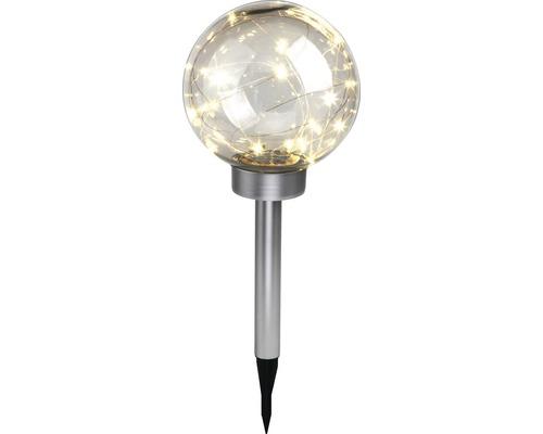 Boule solaire LED Vintage IP44 avec piquet de terre blanc chaud couleur acier inox clair Ø 200mm