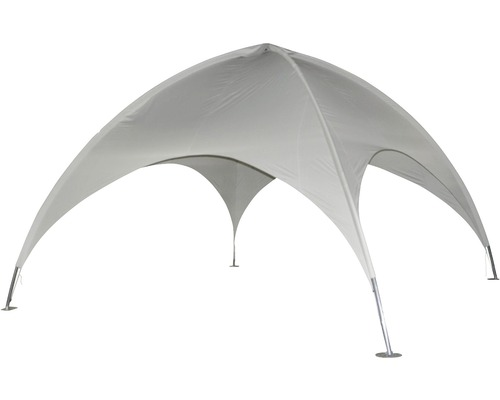Pavillon avec toit en coupole Leco 5 x 5 x 3,50 m gris clair avec matériel de fixation