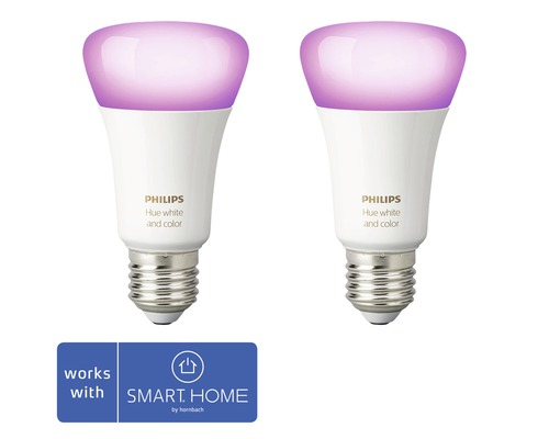 Philips hue LED Lampe White & Color Ambiance dimmbar lila 2x E27 9,5W 806 lm 2000K-6500 K RGB - Kompatibel mit SMART HOME by hornbach