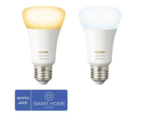 Ampoule LED Philips hue White Ambiance à intensité lumineuse variable blanc 2x E27 9,5W 806 lm 2200K-6500 K 2 pces - compatible avec SMART HOME by HORNBACH