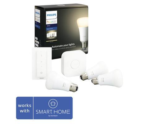 Kit de démarrage éclairage intélligent Philips hue White à intensité lumineuse variable 3x E27/9,5W(60W) 806 lm 2700 K blanc chaud A60 mat/blanc 3x ampoule 1x pont 1x bloc d''alimentation 1x câble LAN 1x variateur