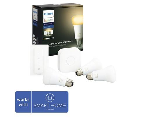 Kit de démarrage éclairage intélligent Philips hue White Ambiance à intensité lumineuse variable 3x E27/9,5W(60W) 806 lm 2200K-6500 K blanc chaud-blanc lumière du jour A60 mat/blanc 3x ampoules 1x pont 1x bloc d''alimentation 1x câble LAN 1x variateur
