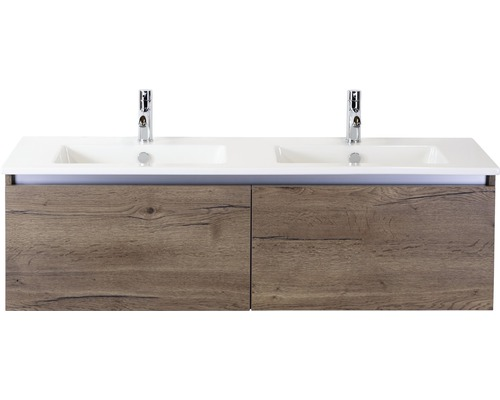 ensemble de meubles de salle de bains frozen 140 cm avec double vasque ceramique 2 trous pour robinetterie tabacco