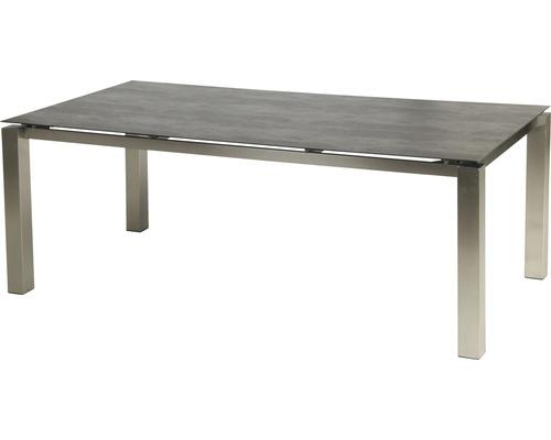 Set de meubles de jardin 6x fauteuils empilables Manhattan avec table Auris 6 places 7 pièces anthracite/gris