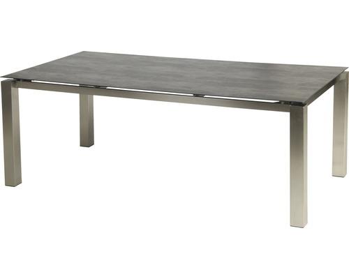 Set de meubles de jardin 4x fauteuils empilables Manhattan avec table Auris 4 places 5 pièces anthracite/gris