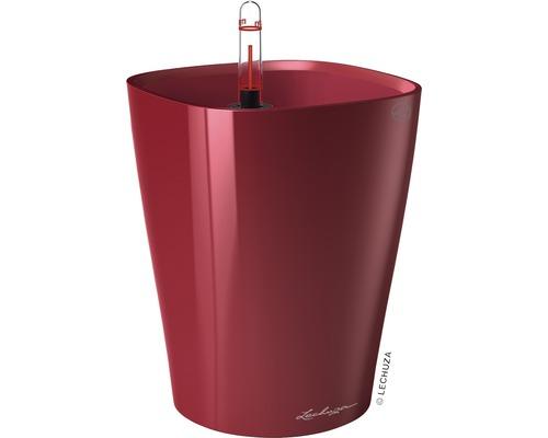 Pot de fleurs Lechuza Deltini Ø 14 x H 18 cm rouge avec système d'arrosage de la terre insert pour plantes substrat indicateur de niveau d'eau 9 pièces