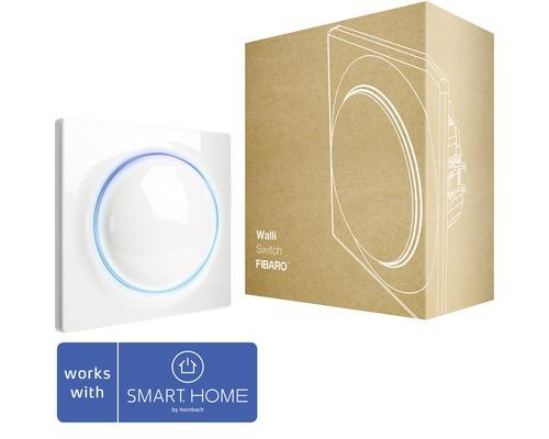 Interrupteur à encastrer Fibaro Walli Switch pour la commande d''une ou deux sources lumineuses blanc compatible avec SMART HOME by hornbach