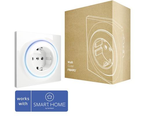 Prise de courant intelligente Fibaro Walli Outlet avec fonction répéteur pour la commande d''appareils électriques compatible avec SMART HOME by hornbach