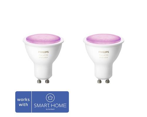 Réflecteur LED Philips hue White & Color Ambiance à intensité lumineuse variable violet 2x GU10 5,7W 350 lm 2000K-6500 K RGB - compatible avec SMART HOME by HORNBACH