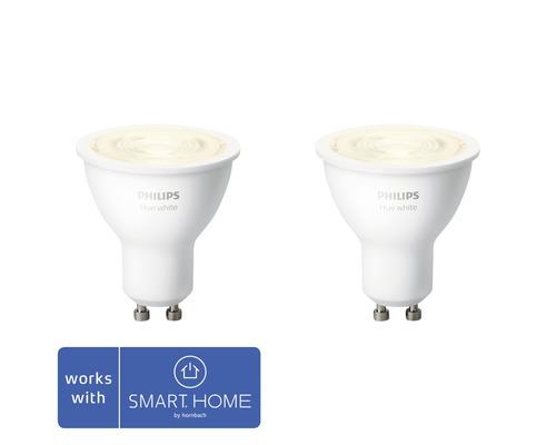 Réflecteur LED Philips hue White à intensité lumineuse variable blanc GU10/5,2W 400 lm 2700 K MR16 2 pces - compatible avec SMART HOME by HORNBACH