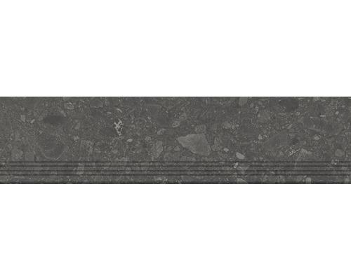 Carrelage de marches en grès cérame fin Donau graphite 30x120cm