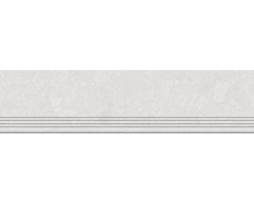 Carrelage de marches en grès cérame fin Donau blanc 30x120cm