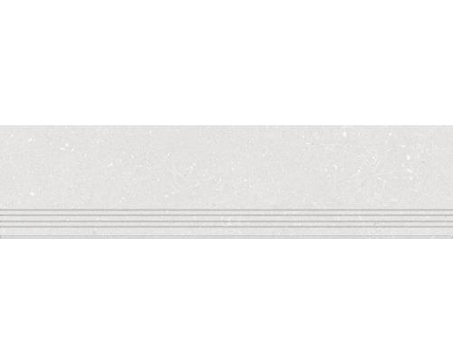 Carrelage de marches grès cérame fin Alpen blanc 30x120cm