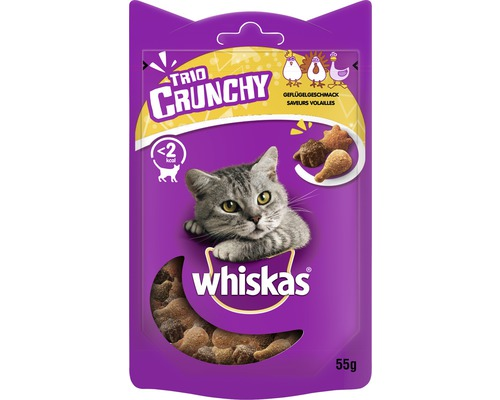 Friandise pour chat whiskas Trio Crunchy volaille 55 g