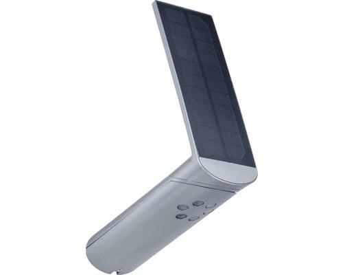 Applique murale solaire à capteur à LED IP44 1,2W 115lm 3000K blanc chaud Ilias gris alu Hxlxp 261x73x175mm