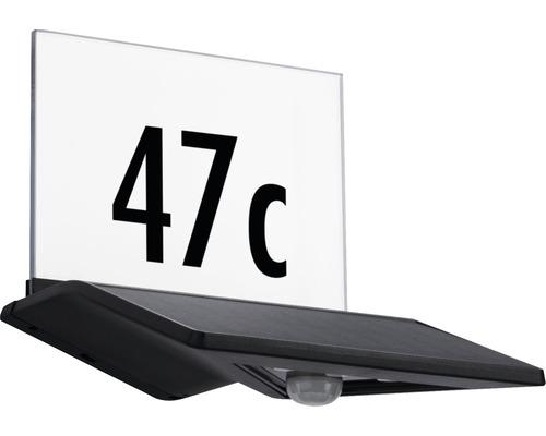 Lampe solaire pour numéro de maison à capteur à LED IP44 1,2W 145lm 3000K blanc chaud Yoko anthracite Hxlxp 175x160x190mm
