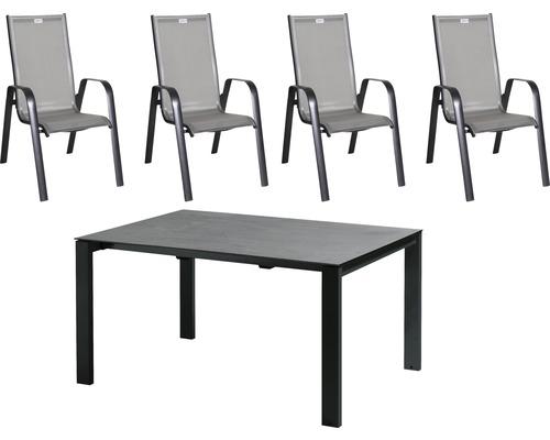 Ensemble de meubles de jardin Acamp acatop aluminium 4places 5pièces anthracite extractible rabattable